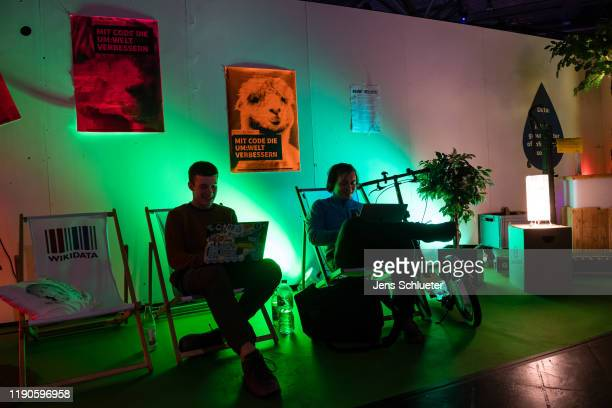 Participants take part on the first day of the 36C3 Chaos Communication Congress on December 27, 2019 in Leipzig, Germany. The four-day event under...