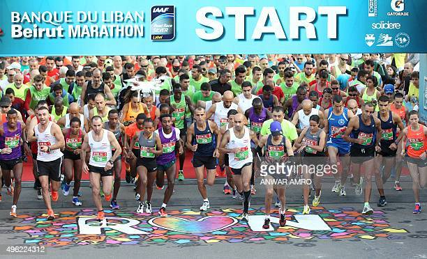 Participants take the start of the 13th Beirut Marathon on November 8 2015 in the Lebanese capital