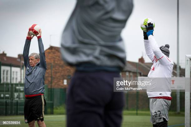 Participants taking part in a session of walking football at Anfield Sports and Community Centre in Liverpool. The initiative for men over the age of...