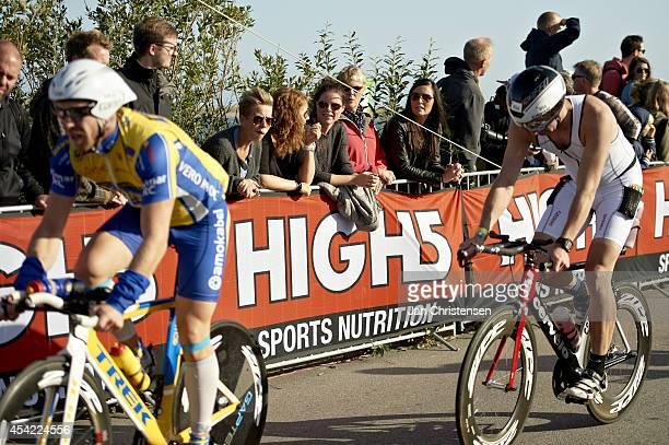 Participants under cycling leg during KMD Ironman Copenhagen on August 24 2014 in Copenhagen Denmark