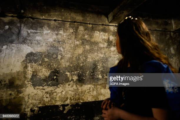 Participants visit a gas chamber at the former Nazi German AuschwitzBirkenau death camp during the 'March of the Living' at Oswiecim The annual march...