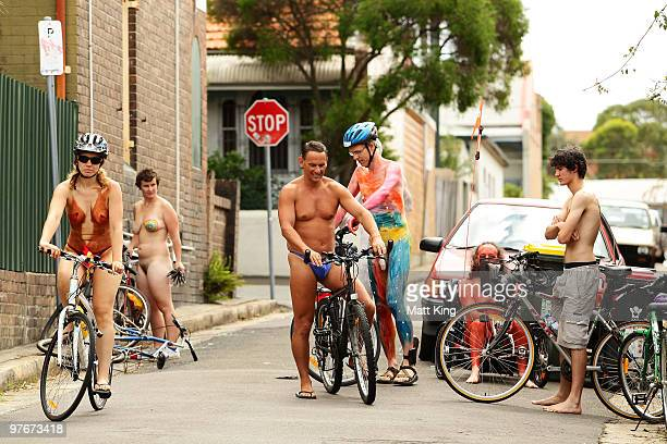 Participants wait to ride during the annual World Naked Bike Ride Australia 2010 in central Sydney on March 13 2010 in Sydney Australia The annual...