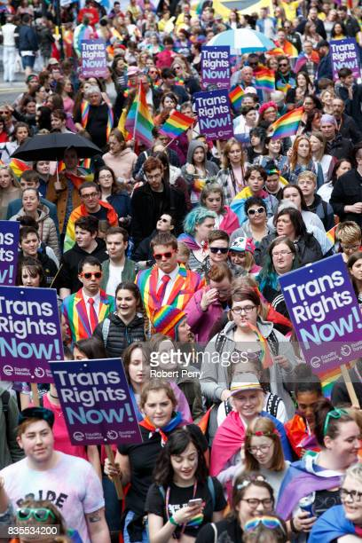 Participants walk through the streets of Glasgow during the Glasgow Pride march on August 19 2017 in Glasgow Scotland The largest festival of LGBTI...