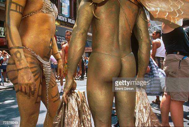 Participants wear body paint during the Gay Pride Parade June 27 1999 in New York City The Gay Pride Parade is organized for and on behalf of all...