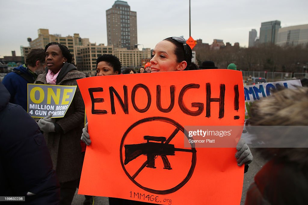 Gun Control Activists March Across Brooklyn Bridge : News Photo
