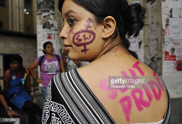Participants with their body and faces painted during Slut Walk to protest against any form of sexual harassment of any gender in public places at...