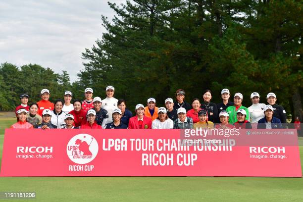 Participating players pose for photographs after the final round of the LPGA Tour Championship Ricoh Cup at Miyazaki Country Club on December 1, 2019...