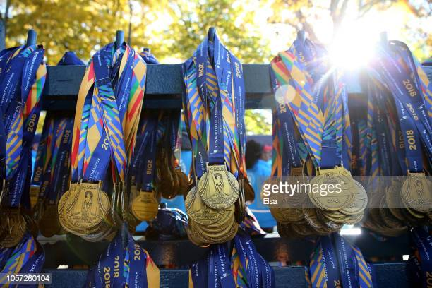 Participation medals are awaiting runners at the finish line before the 2018 TCS New York City Marathon on November 4 2018 in Central Park in New...