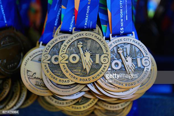 Participation medals are seen during the 2016 TCS New York City Marathon in Central Park on November 6 2016 in New York City