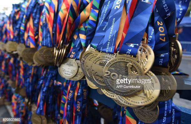 Participation medals lined up for runners as they finish during the 2017 TCS New York City Marathon in New York on November 5 2017 Five days after...
