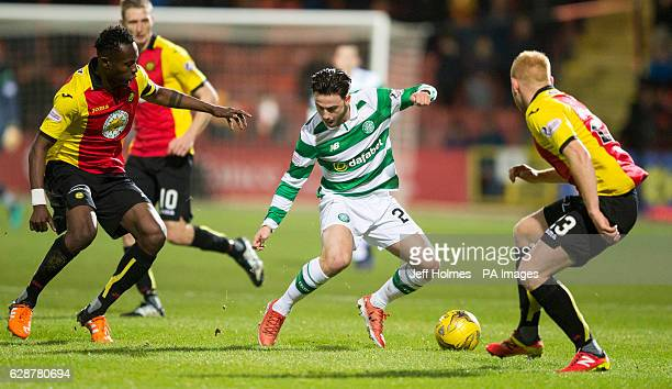 Partick Thistle's Abdul Osman and Ziggy Gordon battle with Celtic's Patrick Roberts during the Ladbrokes Scottish Premiership match at Firhill...