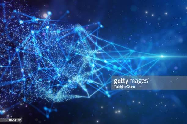 particle and wire frame network - data stock pictures, royalty-free photos & images