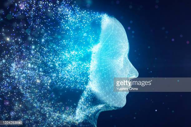 particle data forming ai robot face - scientificsubjects stock pictures, royalty-free photos & images