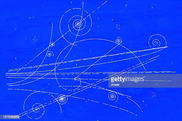 particle movement in a bubble chamber - physics stock pictures, royalty-free photos & images