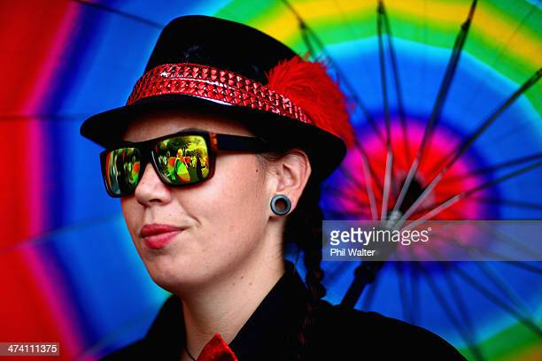 Particpants take part in the Auckland Pride Parade along Ponsonby Road on February 22 2014 in Auckland New Zealand The Pride Parade celebrates the...