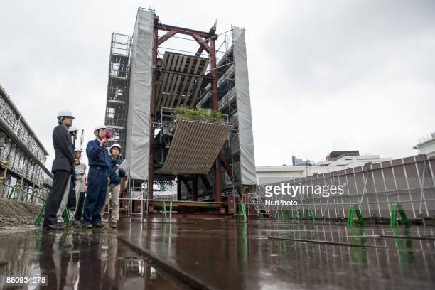 Particular new national stadium at the 2020 Olympics are displayed during a press preview in Tokyo Oct 13 2017