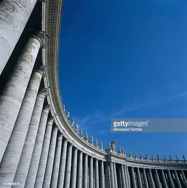 'Particular view from below of a part of the colonnade in St Peter's Square designed and built by the architect Bernini it is composed of 284 columns...