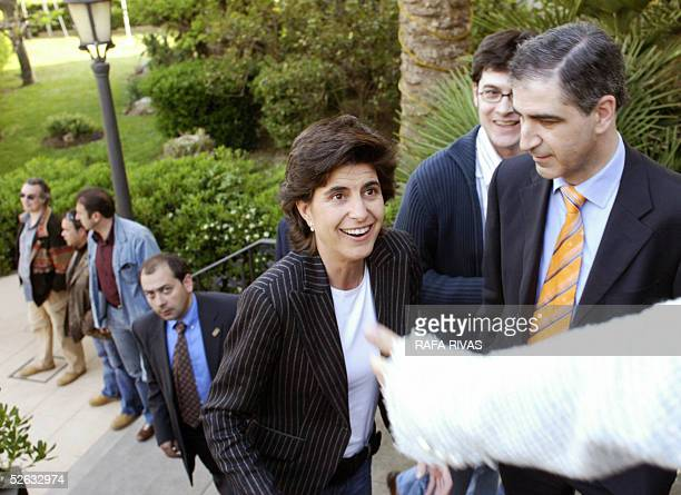 Partido Popular candidate for the 17 April 2005 Basque regional elections Leopoldo Barreda looks at PP candidate for Basque President Maria San Gil...