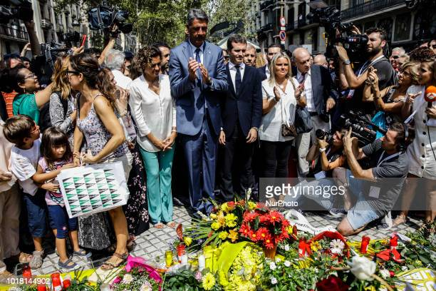 Partido Popular members comanded by Pablo Casado Dolors Montserrat and Garcia Albiol placing flowers in tribute of the victims during the first...