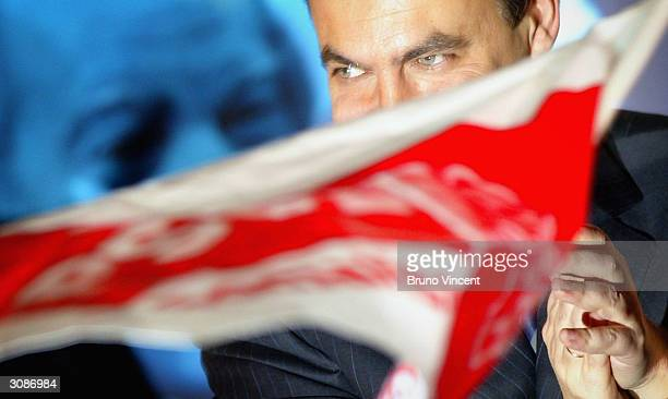 Partido Socialista Obrero Espanol party leader Jose Luis Rodriguez Zapatero takes to the stage of the party headquarters and claims victory in...