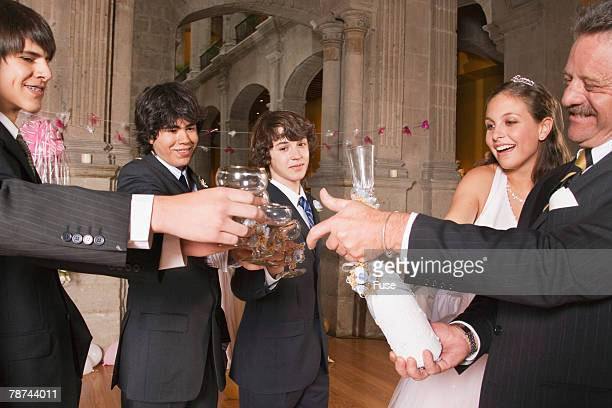 Partiers Making a Toast at Quinceanera