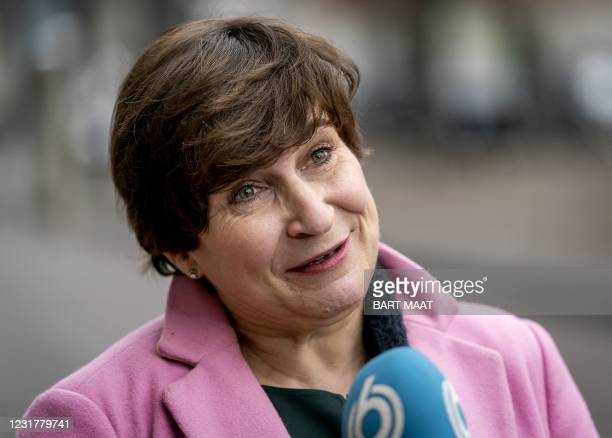 Partij van de Arbeid party leader Lilianne Ploumen arrives at the Binnenhof, the day after the House of Representatives elections in The Hague on...