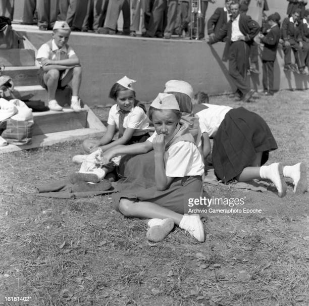 Partisan children waiting for the speech by Yugoslav statesman Josip Broz Tito 6th September 1953
