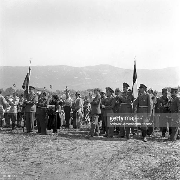 Partisan soldiers in Okroglica near Sempas or Sambassa in Slovenia for a speech by Yugoslav statesman Josip Broz Tito 6th September 1953