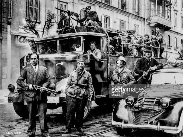 Partisans arrive in Milan, at the end of the Second World War.