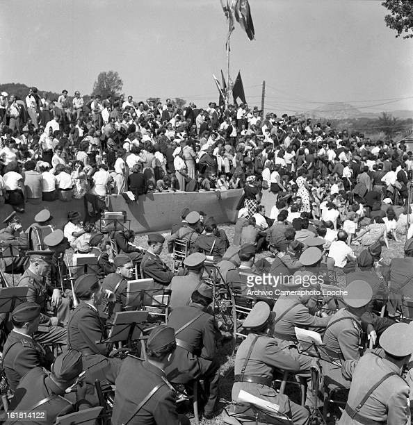 Partisans gather in Okroglica near Sempas or Sambassa in Slovenia for a speech by Yugoslav statesman Josip Broz Tito 6th September 1953