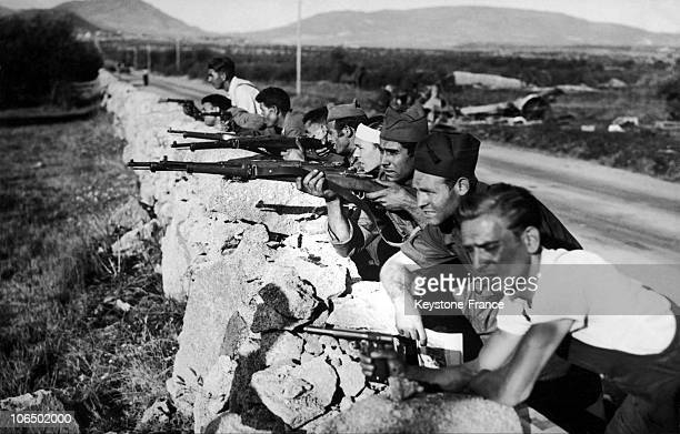 Partisans Of The Governmental Troops Fighting On The Front In Guadarrama Near Madrid Aroudn 19361937 During The Spanish Civil War