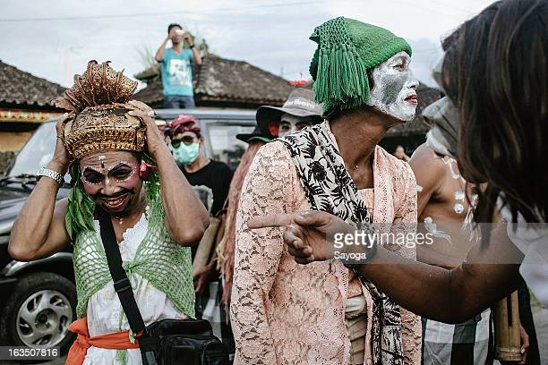 Partisipants wait the Ogoh-ogohs parade begin on March 11, 2013 in Tunjuk Village, Tabanan, Bali, Indonesia. For the Balinese, Ogoh-ogohs reflect the...