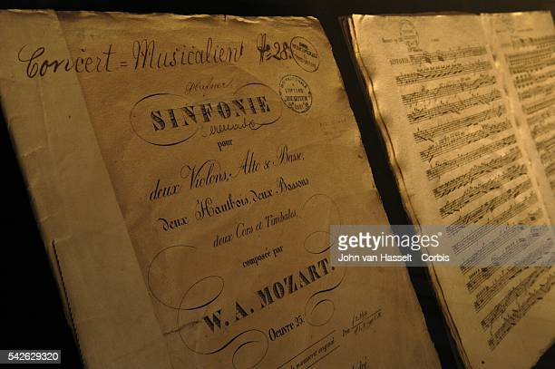 Partition of Mozart Serenade in D major K250 at Mozart's former home now a museum