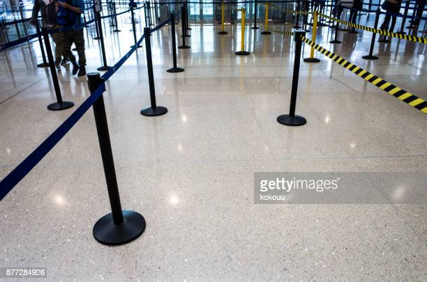 Partition poles in the airport.
