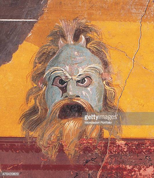 'Partition Wall with Mask and by unknown artist 4030 1st Century BC ripped fresco 118 x 60 cm Italy Campania Naples National Archaeological Museum...