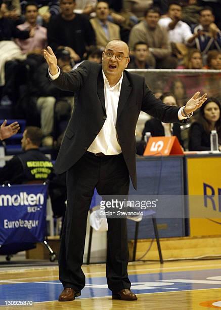 Partizan Belgrade head coach Dusko Vujosevic, react, during their group B Euroleague basketball match in Belgrade, Serbia, Wednesday, November 29,...