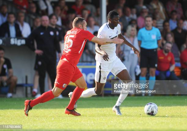 Partizan Belgrade's Umar Sadiq under pressure from Connahs Quay Nomads' Danny Holmes during the Europa League 2nd Qualifying Round 1st Leg match...
