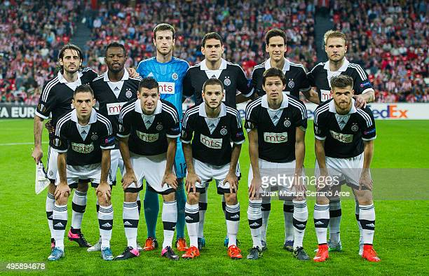 Partizan line up for a team photo prior to the start the UEFA Europa League match between Athletic Club and FK Partizan at San Mames Stadium on...
