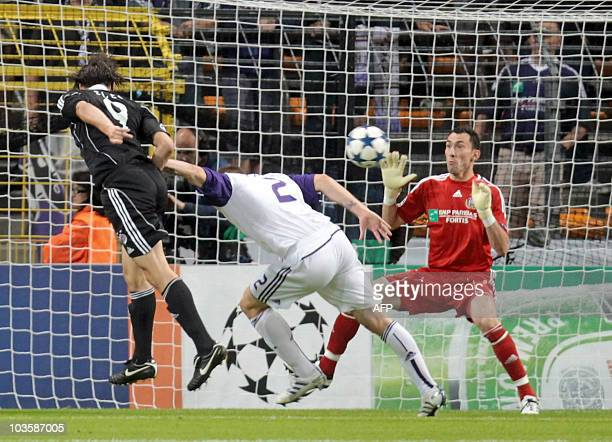 Partizan's Cleo Gabrijel Cordova Cleverson scores his first goal during the UEFA Champions League playoff round match between Belgian first division...