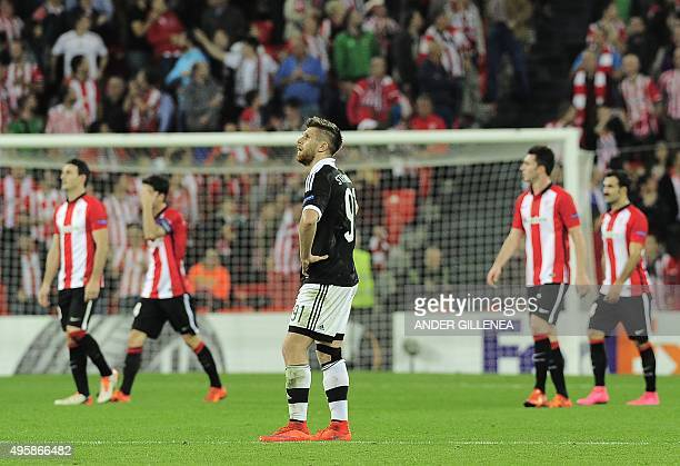 Partizan's midfielder Alen Stevanovic reacts after Athletic Bilbao scored their fourth goal during the UEFA Europa League group L football match...