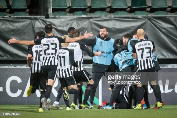 Partizan's players celebrate after scoring a second goal during the UEFA Europa League Group L football match between AZ Alkmaar and Partizan...