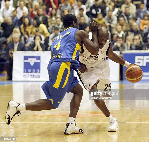 Partizan's Vonteego Cummings right is challanged bu Will Bynum left from Maccabi Tel Aviv during the group B Euroleague basketball match between...