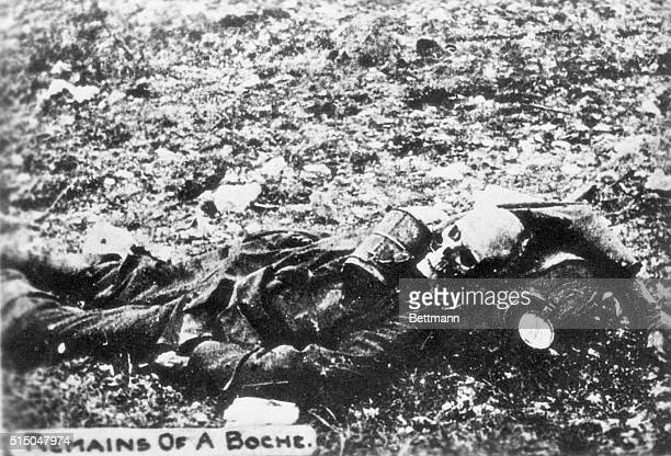 Partly decomposed body of a German soldier