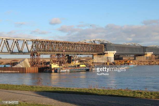 Partly demolished historic bridge over the Vistula river is seen in Tczew Poland on 5 January 2020