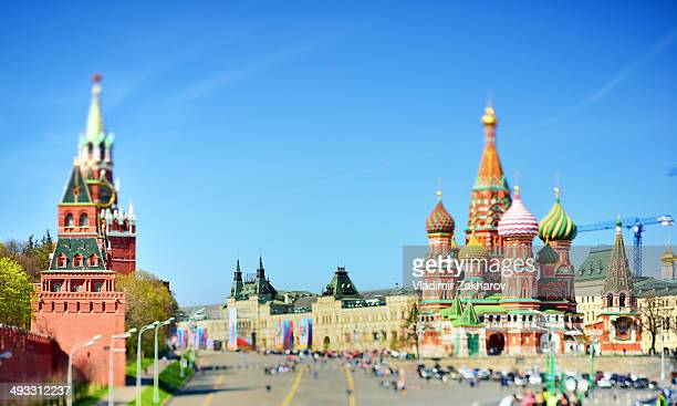Partly focused view of central Moscow with historical landmarks as St.Basil Cathedral, Spasskaya Clock Tower of Moscow Kremlin, part of Red square...