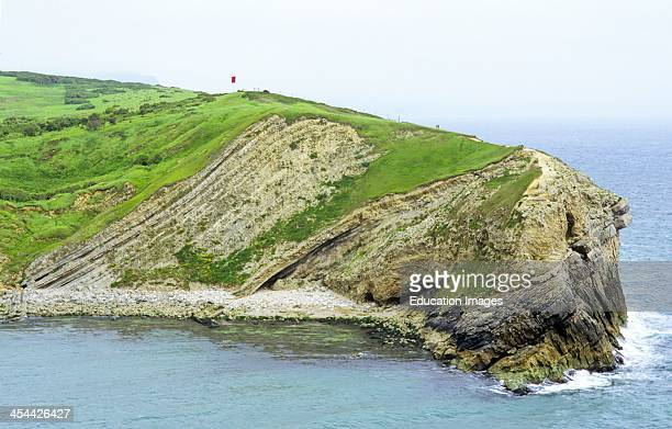 Partly folded limestone Jurassic Cretaceous at entrance to Lulworth Cove Dorset England