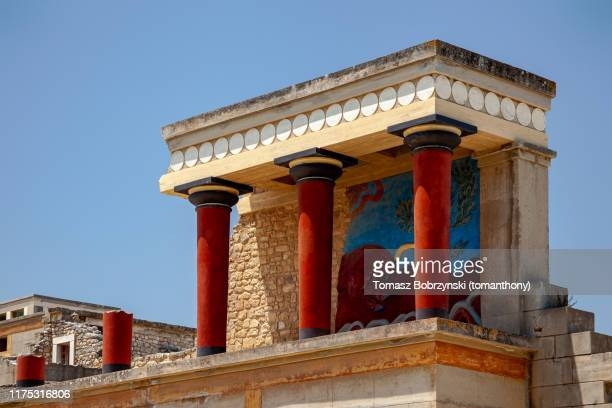 partly reconstructed ruins of the ancient minoan palace of knossos in heraklion, crete, greece - archaeology stock pictures, royalty-free photos & images