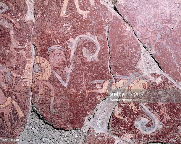Partly reconstucted wall painting at TepantitlaThe scenes are thought to represent the paradise of the rain god Tlaloc where the souls who have...