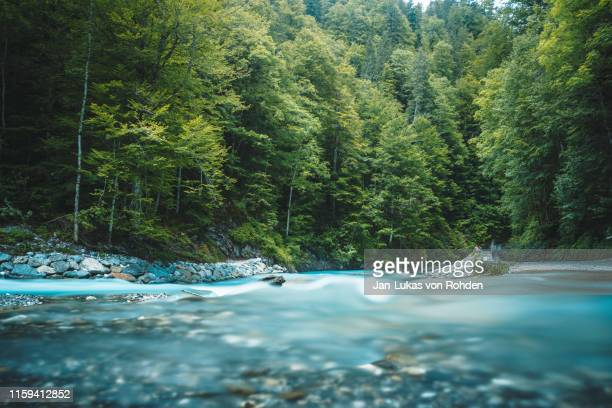 partnachklamm lake between trees and mountains - rivier stockfoto's en -beelden