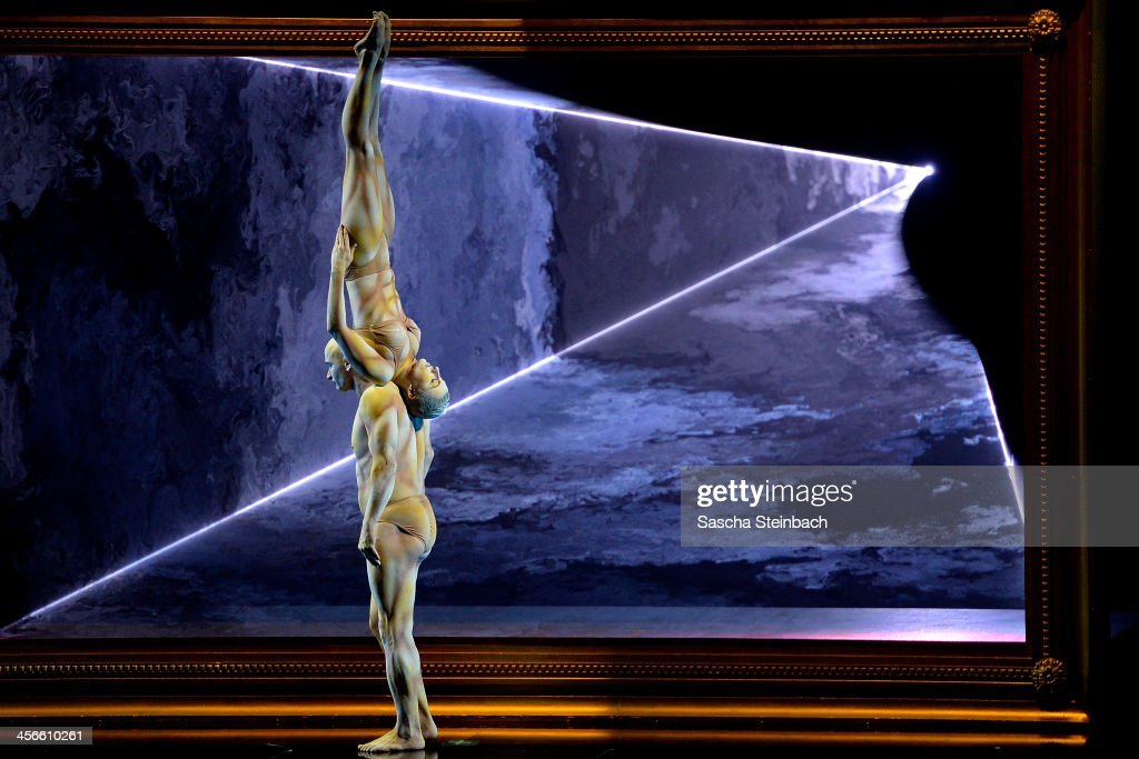 Partner acrobats 'La Vision' perfom during the finals of 'Das Supertalent' at Coloneum on December 14, 2013 in Cologne, Germany.